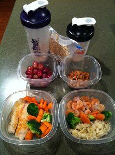 healthy lunch ideas tilapia, veggies, grapes shrimp, brown rice, almonds