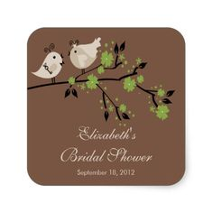 Modern Love Birds Bridal Shower Square Stickers