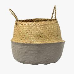 Grey and Natural Seagrass Belly Basket