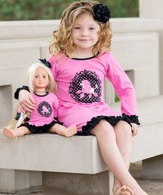 http://www.zulily.com/invite/kripley070 Look what I found on #zulily! Pink & Black Poodle Dress & Doll Outfit #zulilyfinds