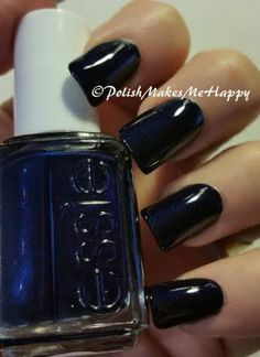 """Essie Nail Polish, """"Midnight Cami"""". There is a hint of a light blue shimmer in the bottle, but I found it hard to capture in the pictures.  This polish was opaque in one coat!"""