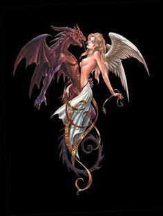 El bien y el mal tan unidos y a la vez tan separados! Beautiful Dragon, Beautiful Fantasy Art, Dark Fantasy Art, Fantasy Artwork, Dark Art, Fantasy Dragon, Fantasy Warrior, Fantasy Women, Fantasy Girl