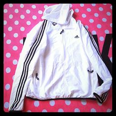 Adidas Windbreaker Jacket Super cute! Never been worn. Just hanging in my closet. Super soft wind breaker material. Has netted lining. Mens XL Adidas Jackets & Coats