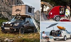 Fancy camping on the roof of your car? Mini unveils the world's smallest luxury camper van and a 'safari-style' tent Mini has revealed three concept vehicles for campers including a safari-style roof-top tent, camper van for one and bright red caravan.