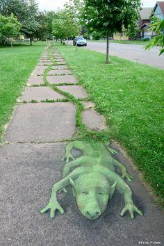 grasstail lizard by David Zinn ¶¶ #toutoblog.unblog.fr aime ☺