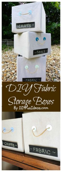 These super easy DIY FABRIC COVERED STORAGE BOXES cost me $0 to make! Check out the tutorial & tons more fun DIYs @ DIYFUNIDEAS.COM