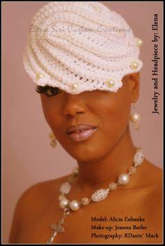 ELENA SIRI CUSTOM CREATIONS  CROCHETED WEDDING GOWN HEAD PIECE  www.elenasiri.com  crochet fashions
