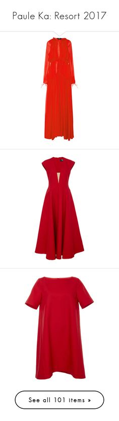 """Paule Ka: Resort 2017"" by livnd ❤ liked on Polyvore featuring pauleka, resort2017, dresses, gowns, red, red evening gowns, red evening dresses, red dress, long sleeve evening dresses and long sleeve red evening dress"