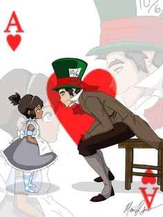 Korra in Wonderland - this is so cute with Korra as Alice and Mako as The Mad Hatter!!
