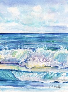Study of Waves Original Watercolor Beach Painting by kauaiartist