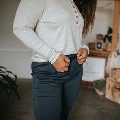 Little & Lively - Women's Long Sleeve Henley Shirt | Ash – The Kindred Studio Women's Henley, Henley Shirts, Kids Pajamas, Pajamas Women, Long Sleeve Henley, Kids Branding, Ash Color, Body Measurements, Studio