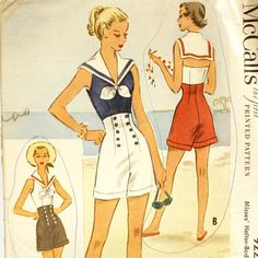 1950s Nautical Playsuit Pattern  McCall's par CraftyAnnesArtistry