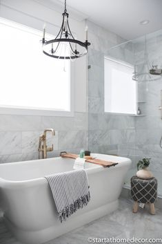 Master Bathroom Reveal | Start at Home Decor | Free Standing Tub | Eclectic Bathroom, Modern Farmhouse Bathroom, Diy Bathroom Decor, White Bathroom, Master Bathroom, Bathroom Ideas, Bathroom Stuff, Bathrooms, Beautiful Home Designs