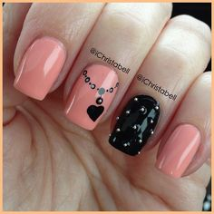 nails pointed design, heart nails, nail styles, pink and black nail art, nail art original, nail arts, black nails, nail ideas, peach nail art