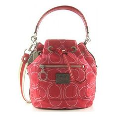 Coach Signature Poppy Cinch Drawstring Pack Bag