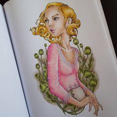 "Páči sa mi to: 181, komentáre: 15 – Stanka (@stanislava007) na Instagrame: ""Just a girl Beautiful line art by Zan Von Zed and colored with Faber-Castell Polychromos and…"""