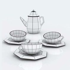 The Baita Design Tea Set is a Paned Porcelain Creation #kitchen trendhunter.com