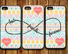 3 iPhone 5/5S, iPhone 5c, iPhone 4 4s, Samsung Galaxy S3 S4 case Monogram Best friends Forever BFF Infinity personalized Protective Case