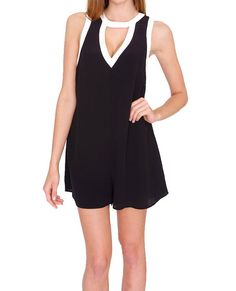 +Black and Ivory color block romper  +V-neck cutout front and back
