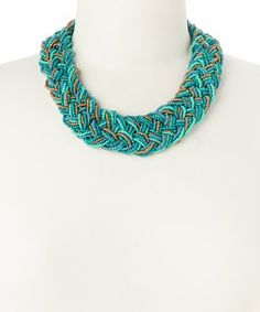 Teal & Goldtone Seed Bead Braided Necklace #zulily #zulilyfinds