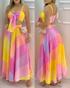 Indian Fashion Dresses, Girls Fashion Clothes, Rainbow Colored Dresses, Chic Outfits, Fashion Outfits, Chic Type, Trend Fashion, Spaghetti Strap Top, Everyday Dresses