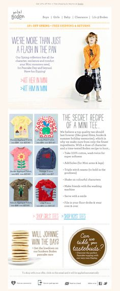 This Mini Boden campaign uses animation to great effect - to support a clear concept and message. Whilst animated gifs aren't supported in Outlook Newsletter Layout, Email Newsletter Design, Web Design Trends, Blog Design, Email Design Inspiration, Email Marketing Design, Pancake Day, Promotional Design, Print Layout