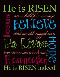 Why are there so many great printable for Christmas and Valentine's Day but not for RESURRECTION DAY???     I don't mind the bunnies and eg...