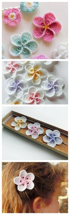 Crochet Free Pattern The plumeria flowers are cozy to wear behind the ears naturally, but we have an idea to wear the crochet version, which