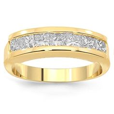 This simple yet elegant womens diamond wedding band is handcrafted in highly polished 14K yellow gold. Seven brilliant princess cut diamonds are channel set half way around the band and total to 1.25 carats. The frame measures to 3/16 inches in width and weighs approximately 4.8 grams. This lovely diamond wedding band is an ideal gift for that special occasion. $1,335.00