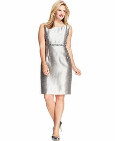 Kasper Plus Size Embellished Metallic Melange Dress - Plus Size Dresses - Plus Sizes - Macy's