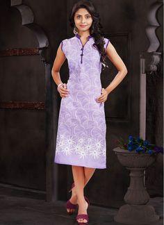 Pretty Purple Fancy Printed Kurti