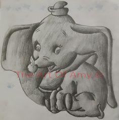 Black And White Dumbo :) --- https://www.etsy.com/listing/202591871/dumbo-original-pencil-drawing
