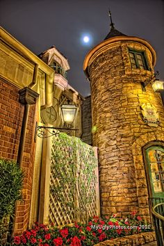 HDR  Moonlit Night  in France - Epcot Center.