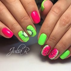 Nail designs or nail art is definitely a basic notion - designs or art which is used to accentuate the finger or toe nails. You can use them mostly to further improve a dressing up or brighten up a daily look. Mauve Nails, Neon Nails, Diy Nails, Manicure, Fruit Nail Designs, Toe Nail Designs, Nails Design, Fruit Nail Art, Bright Summer Nails
