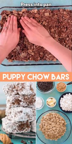 Everyone's favorite party snack (puppy chow) made into puppy chow bars! Take the classic muddy buddies and turn them into a no bake dessert bar by adding marshmallows - these muddy buddies bars are like a mix between puppy chow and rice krispie treats! Mini Desserts, No Bake Desserts, Just Desserts, Cheesecake Desserts, Oreo Dessert, Dessert Bars, Candy Recipes, Sweet Recipes, Popcorn Recipes