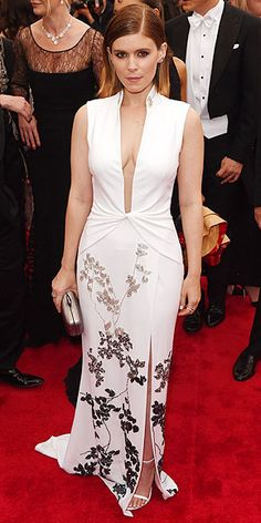 The Most Jaw-Dropping Dresses at the 2015 Met Gala | KATE MARA | in a high collar, deep neckline white gown with floral detailing along the skirt.