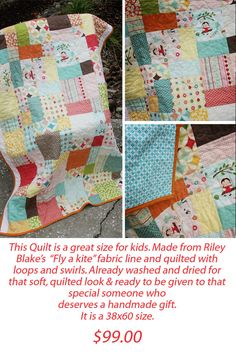 Riley Blake Fly a Kite Quilt Kid quilt by ivysmith on Etsy, $99.00