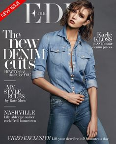 Karlie Kloss Graces The Cover Of Net-a-Porter's The Edit In A Canadian Tuxedo Karlie Kloss, Canadian Tuxedo, Catwalk Models, Double Denim, Kate Moss, Frame Denim, Covergirl, Edm, Cover Up