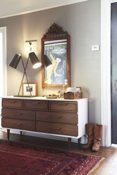 painted shell w/ original natural walnut drawers... White Wood Dresser, Modern Dresser, Sideboard Decor, Mid Century Sideboard, Man Of The House, Interior Decorating, Interior Design, Refurbished Furniture, Decoration