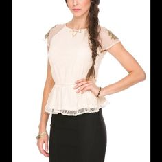 FOREIGN EXCHANGE Ivory Peplum Lace Studded Blouse New with tag Size: Large. Measurements: Bust- 36 inches, Waist- 29 inches. Material: 100% Polyester. Hand wash cold. LAST ONE Foreign Exchange Tops Blouses