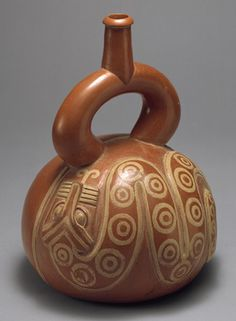 Stirrup-spout bottle with snake, 2nd–3rd century, Peru - Moche.  The Moche society flourished on the north Peruvian coastal desert between the first and the eighth centuries A.D.  Their ceramists produced a great variety of exquisitely decorated vessels, both painted and sculpted form.  The Moche decorated vessels were mold-made and, despite their diversity, reveal standardized shapes and decoration.