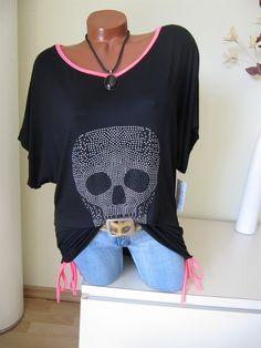 Raff Shirt Tunika Glitzer Nieten Totenkopf Skull Schwarz...