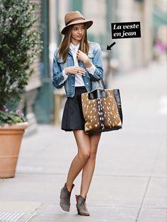 Une veste en jean, une chemise blanche, une jupe noire patineuse et un panama et en route...
