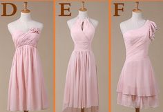 Custom+Short+Pink+Chiffon+Bridesmaid+Dress+Knee+by+SanctSophia,+$86.00