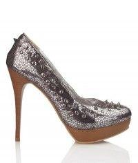 Gunmetal Fierce - Womens silver studded platform high heel shoes