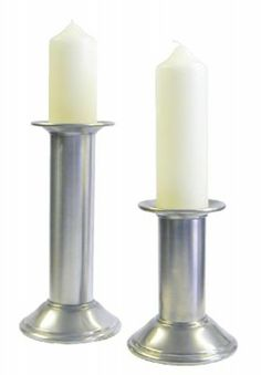 Antique Pewter Candlesticks. Traditional pewter candlesticks with an antique style matte finish and a medieval design. $