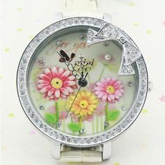 New Sunflower Theme Polymer Clay Leather Novelty Watch