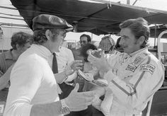 Steve McQueen suddenly realizes that Jo Siffert views him as a colleague. Sebring 1970.