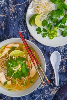 Pho Ga (Vietnamese Chicken Noodle Soup) by Southern Boy Dishes.a satisfying Vietnamese chicken soup with rice noodles and fresh herbs Vietnamese Chicken Soup, Chicken Pho, Chicken Rice Noodles, Asian Recipes, Ethnic Recipes, Oriental Recipes, Asian Foods, Homemade Pasta, Soups And Stews
