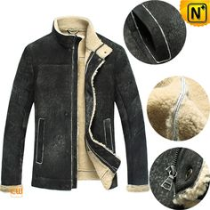 Leather Sheepskin Jacket for Men CW848105  Cool leather sheepskin jacket for men, designer buffing leather jacket with lamb fur lining! Crafted from natural wool Australian ecological sheepskin fur lined leather material, supple, compact, not heavy, but very warm.